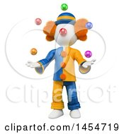 Clipart Graphic Of A 3d White Man Clown Juggling On A White Background Royalty Free Illustration