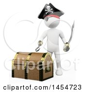 Clipart Graphic Of A 3d White Man Pirate By A Treasure Chest On A White Background Royalty Free Illustration