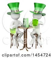 Clipart Graphic Of 3d White Men Enjoying Beer On St Patricks Day On A White Background Royalty Free Illustration