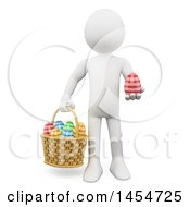 Clipart Graphic Of A 3d White Man With A Basket And Easter Eggs On A White Background Royalty Free Illustration