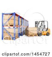Clipart Graphic Of A 3d White Man Forklift Operator Loading Warehouse Shelves On A White Background Royalty Free Illustration by Texelart