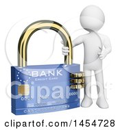 Poster, Art Print Of 3d White Man With A Credit Card Padlock On A White Background