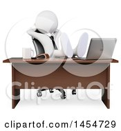 3d White Business Man With His Feet Up On A Desk On A White Background