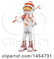 April 23rd, 2017: Clipart Graphic Of A 3d White Man Skier On A White Background Royalty Free Illustration by Texelart