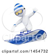 Clipart Graphic Of A 3d White Man Snowboarding On A White Background Royalty Free Illustration by Texelart