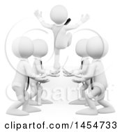 Poster, Art Print Of 3d Team Of White Business Man Practicing Trust On A White Background