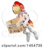 Clipart Graphic Of A 3d White Man Flying A Package With A Jet Pack On A White Background Royalty Free Illustration by Texelart