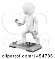 April 23rd, 2017: Clipart Graphic Of A 3d White Man Fitness Instructor With Dumbbells And A Step Platform On A White Background Royalty Free Illustration by Texelart
