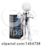 3d White Man System Administrator By A Server On A White Background