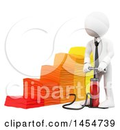 Poster, Art Print Of 3d White Business Man Inflating A Bar Graph On A White Background
