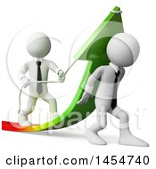 Poster, Art Print Of 3d White Business Team Increasing Business Profit On A White Background