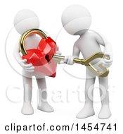 Poster, Art Print Of 3d White Men Unlocking A Heart Padlock On A White Background