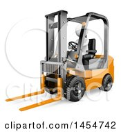 3d White Man Forklift Operator On A White Background