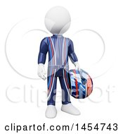 3d White Man Race Car Driver On A White Background