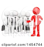 Poster, Art Print Of 3d Red Business Man Boss With A White Team On A White Background