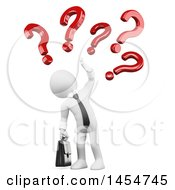Clipart Graphic Of A 3d White Business Man With Questions Or Doubts On A White Background Royalty Free Illustration
