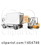 Clipart Graphic Of A 3d White Man Forklift Operator Loading A Truck On A White Background Royalty Free Illustration by Texelart