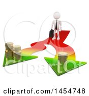 April 23rd, 2017: Clipart Graphic Of A 3d White Business Man On A Splitting Arrow With Money On A White Background Royalty Free Illustration by Texelart