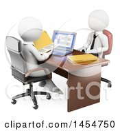 Clipart Graphic Of A 3d White Business Man Interviewing An Applicant On A White Background Royalty Free Illustration