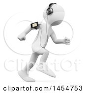 Poster, Art Print Of 3d White Man Running With A Music Player On A White Background