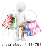April 23rd, 2017: Clipart Graphic Of A 3d White Man Holding Shopping Bags On A White Background Royalty Free Illustration by Texelart