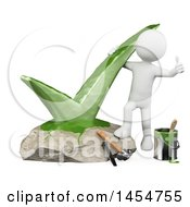 Clipart Graphic Of A 3d White Man Giving A Thumb Up By A Painted Check Mark Rock On A White Background Royalty Free Illustration