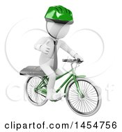 3d White Business Man Giving A Thumb Up And Riding A Bicycle On A White Background
