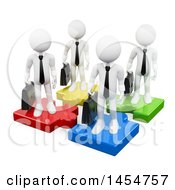 Poster, Art Print Of 3d Team Of White Business Men On Colorful Puzzle Pieces On A White Background