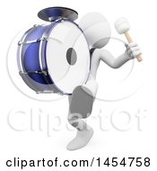 3d White Man Playing A Marching Drum On A White Background