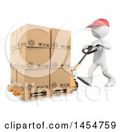 Clipart Graphic Of A 3d White Man Warehouse Worker Moving Boxes With A Pallet Truck On A White Background Royalty Free Illustration by Texelart