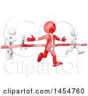 Clipart Graphic Of A 3d Red Business Man Winning A Race Against White Opponents On A White Background Royalty Free Illustration