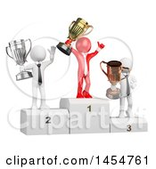 Clipart Graphic Of A 3d Red Business Man Holding Up A Trophon After Winning Against White Opponents On A White Background Royalty Free Illustration
