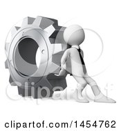 Poster, Art Print Of 3d White Business Man Pushing A Giant Gear Cog On A White Background