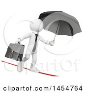 April 23rd, 2017: Clipart Graphic Of A 3d White Business Man Holding A Brifecase And Umbrella While Crossing A Tightrope On A White Background Royalty Free Illustration by Texelart