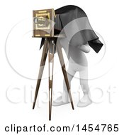 April 23rd, 2017: Clipart Graphic Of A 3d White Man Photographer Using An Old Bellows Camera On A White Background Royalty Free Illustration by Texelart
