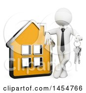 Clipart Graphic Of A 3d White Business Man Or Realtor Holding Keys And Leaning On A House On A White Background Royalty Free Illustration