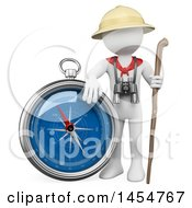 April 23rd, 2017: Clipart Graphic Of A 3d White Man Explorer With A Giant Compass On A White Background Royalty Free Illustration by Texelart
