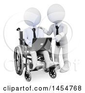 April 23rd, 2017: Clipart Graphic Of A 3d White Disabled Business Man In A Wheelchair Receiving Directions On A Laptop With A Partner On A White Background Royalty Free Illustration by Texelart