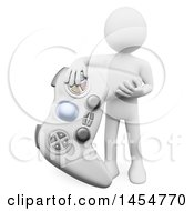 April 23rd, 2017: Clipart Graphic Of A 3d White Man With A Video Game Controller On A White Background Royalty Free Illustration by Texelart