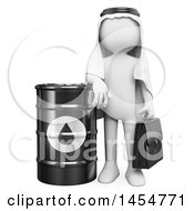 Poster, Art Print Of 3d White Arabian Man With A Barrel Of Oil On A White Background