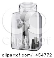 April 23rd, 2017: Clipart Graphic Of A 3d White Business Man Trapped In A Glass Jar On A White Background Royalty Free Illustration by Texelart