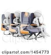 Poster, Art Print Of 3d White Business Men In Airplane Seats On A White Background