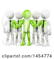 Poster, Art Print Of 3d Green Business Man Leader And White Team On A White Background