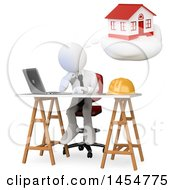 April 23rd, 2017: Clipart Graphic Of A 3d White Architect Thinking About A Home Design On A White Background Royalty Free Illustration by Texelart