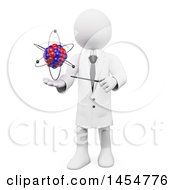 Clipart Graphic Of A 3d White Man Professor Discussing An Atom On A White Background Royalty Free Illustration