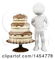 April 23rd, 2017: Clipart Graphic Of A 3d White Man Presenting A Cake On A White Background Royalty Free Illustration by Texelart