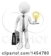 April 23rd, 2017: Clipart Graphic Of A 3d White Business Man Holding A Light Bulb On A White Background Royalty Free Illustration by Texelart