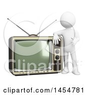 April 23rd, 2017: Clipart Graphic Of A 3d White Man Giving A Thumb Up By A Vintage Tv On A White Background Royalty Free Illustration by Texelart