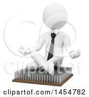 April 23rd, 2017: Clipart Graphic Of A 3d White Business Man Meditating On Pins On A White Background Royalty Free Illustration by Texelart