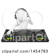 Poster, Art Print Of 3d White Man Dj Using A Mixer On A White Background
